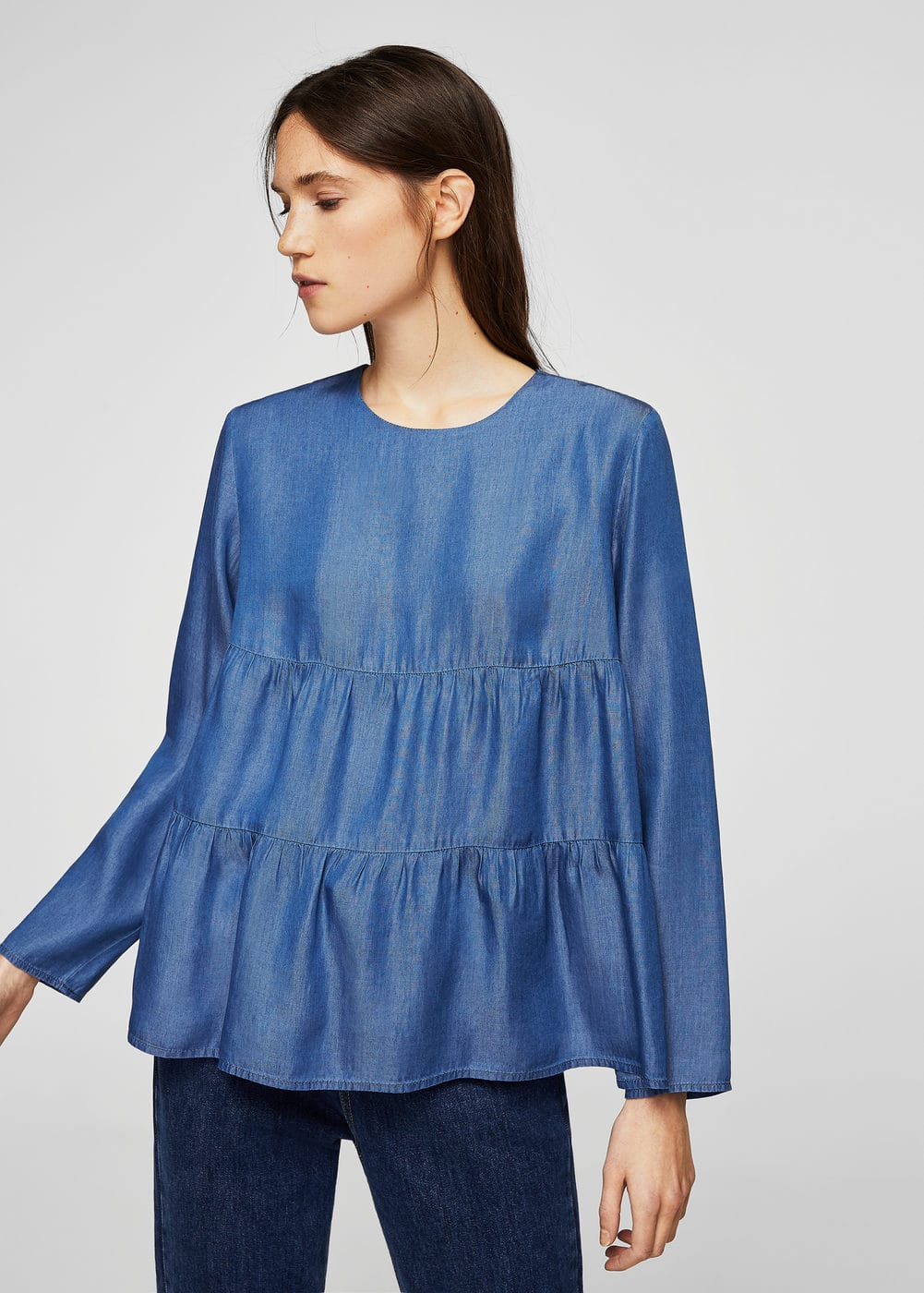Ruched detail soft fabric blouse | MNG