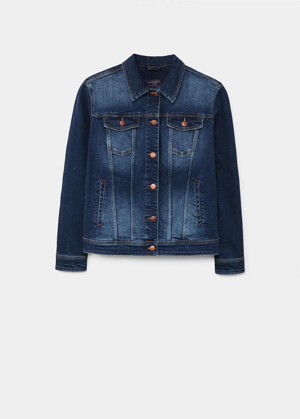 Dark wash denim jacket | VIOLETA BY MANGO