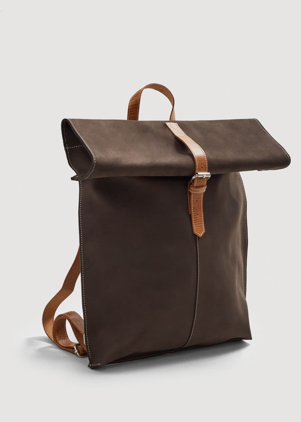 Nubuck leather backpack | MANGO MAN