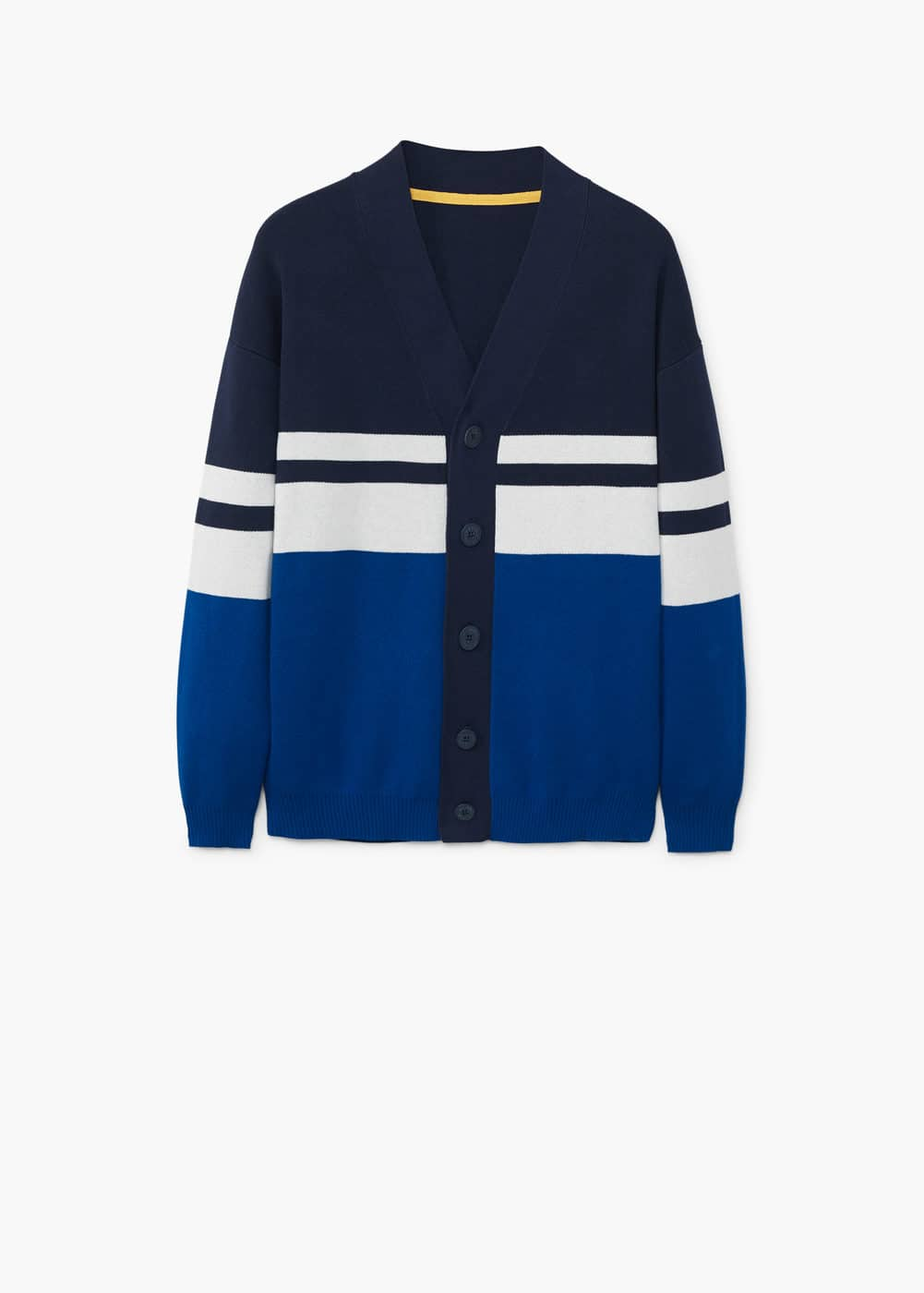 Contrast striped cardigan | MANGO MAN