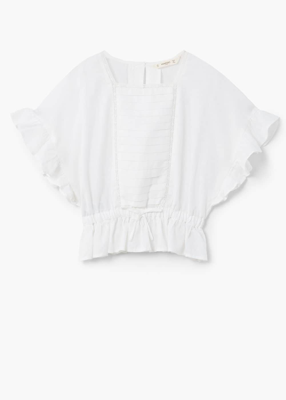 Gathered cotton blouse  | MANGO