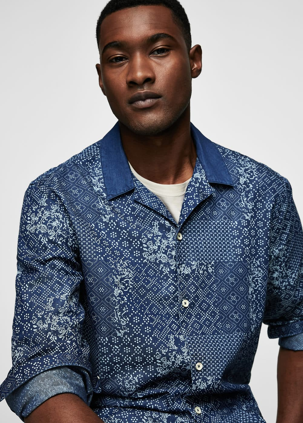 Regular-fit floral denim shirt | MANGO MAN
