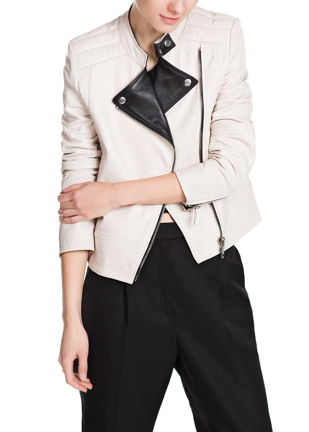 Premium - bicolor leather jacket | MANGO