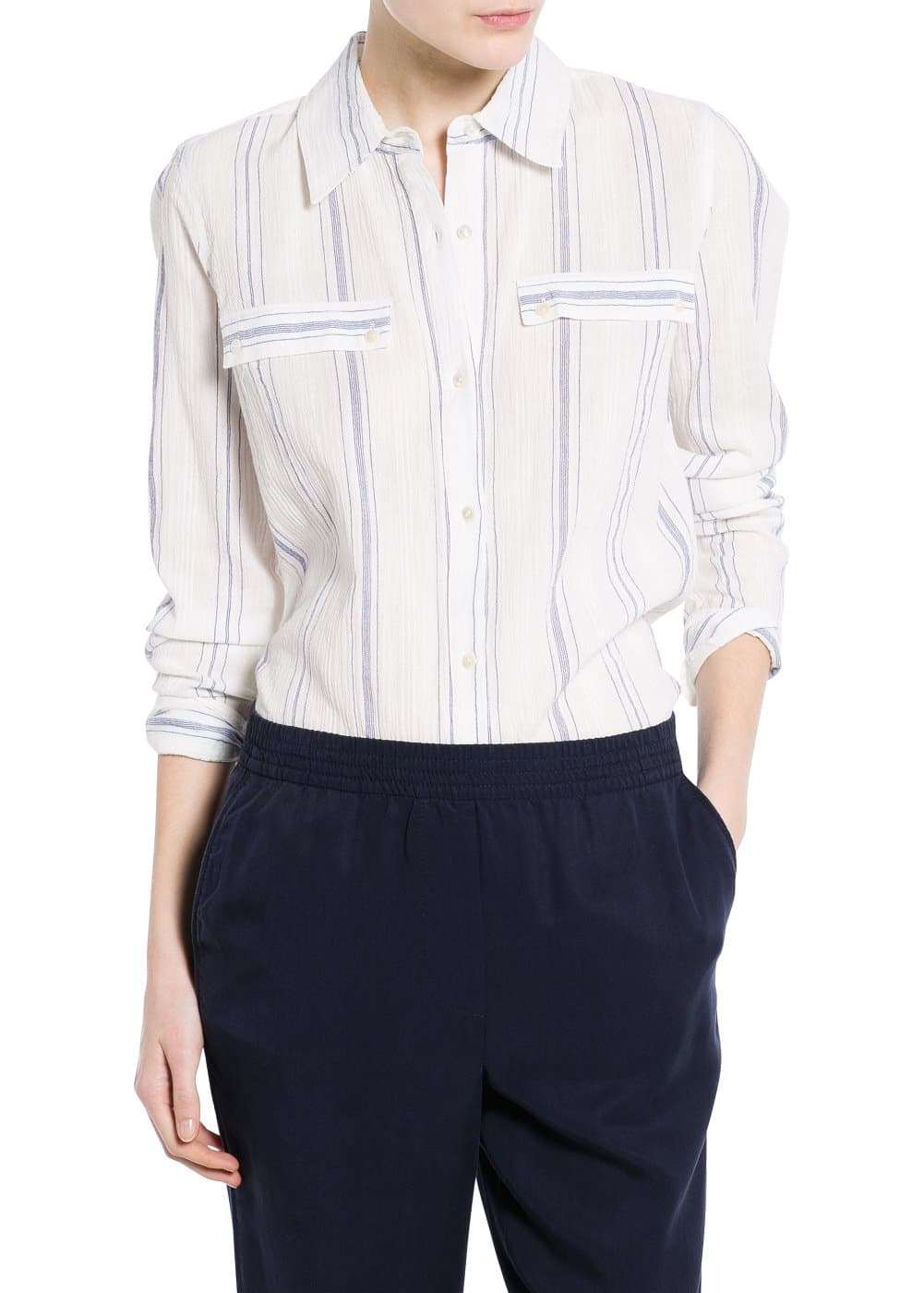 Striped textured shirt | MANGO