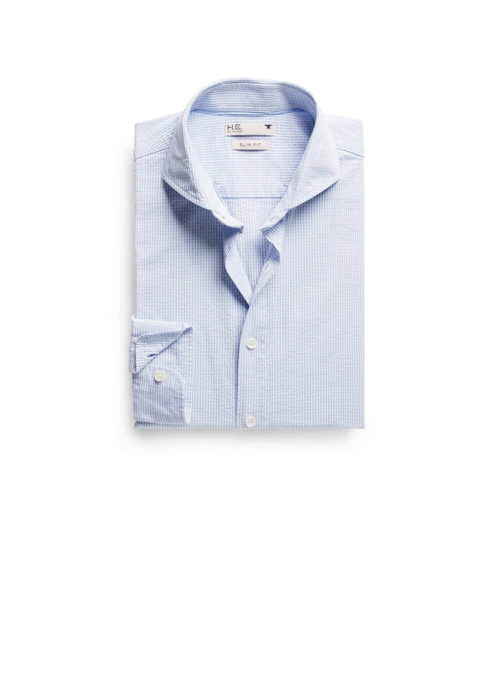 Chemise slim-fit seersucker carreaux | MANGO