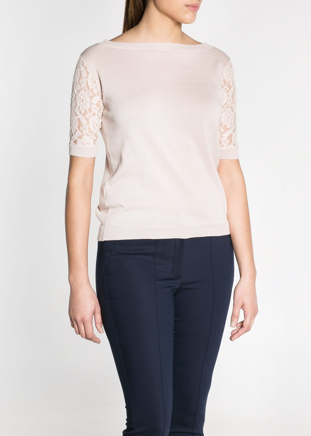 Pull-over manches courtes dentelle | MANGO