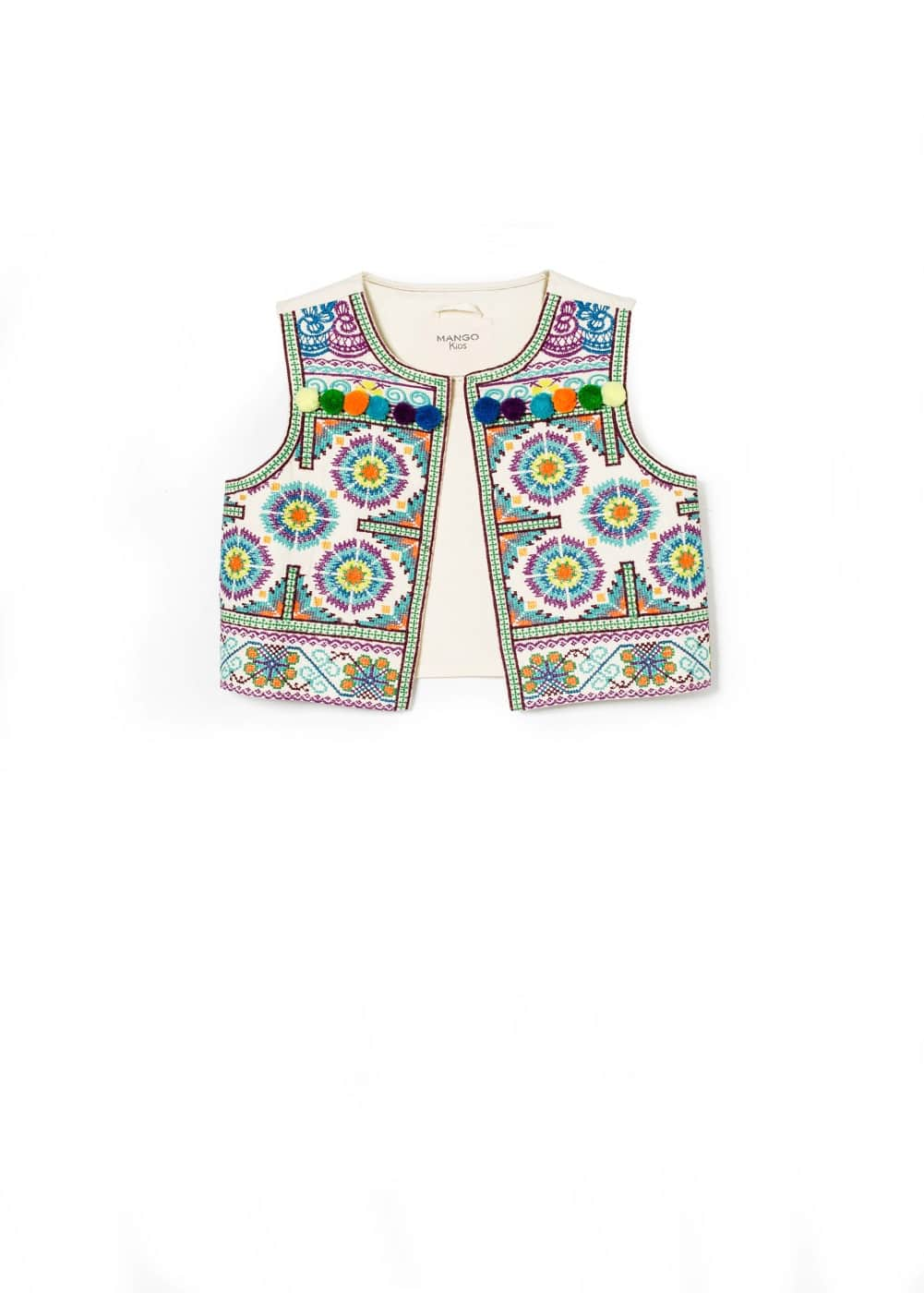 Ethnic embroidered gilet | MANGO KIDS