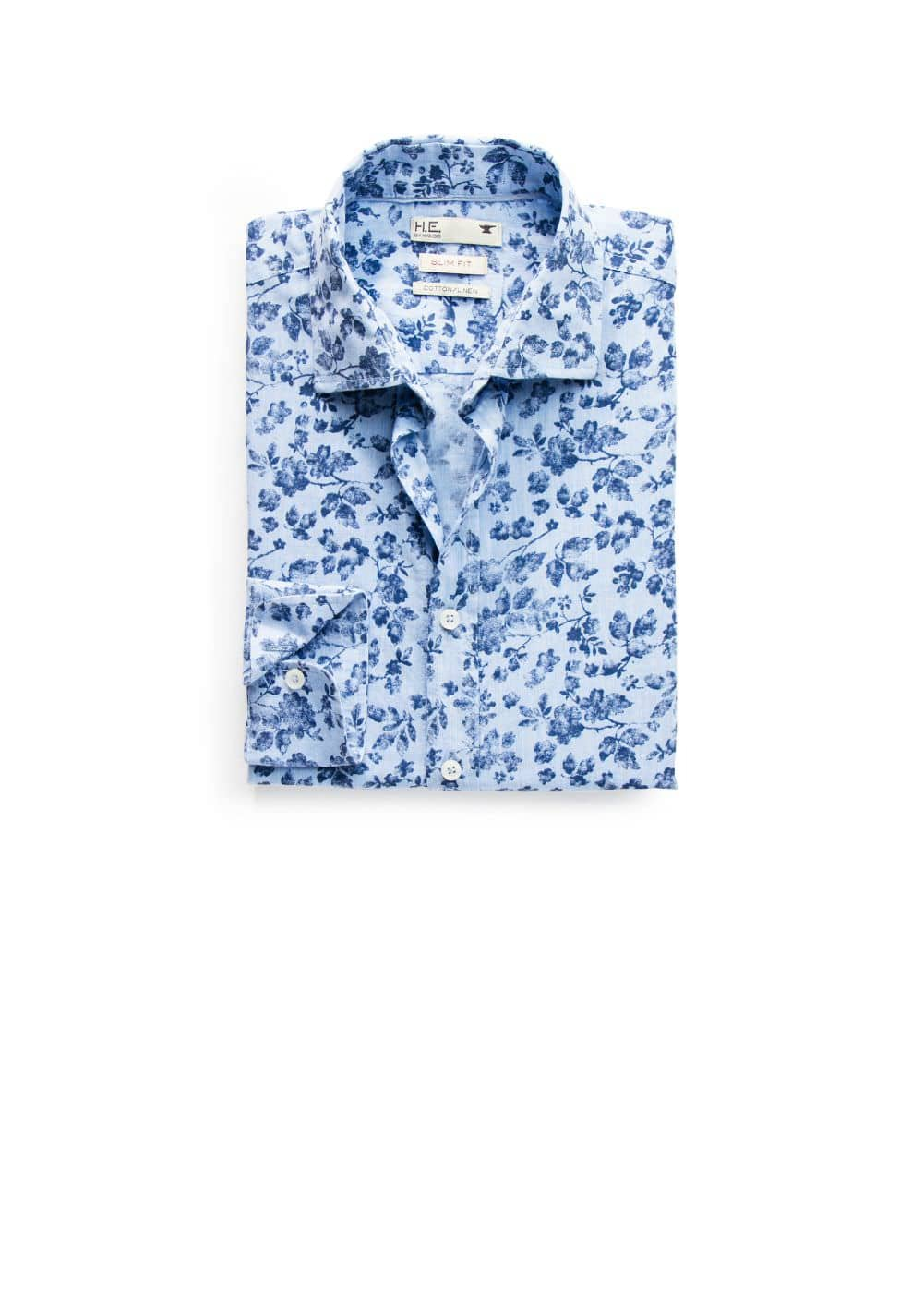 Slim-fit floral linen-blend shirt | MANGO MAN