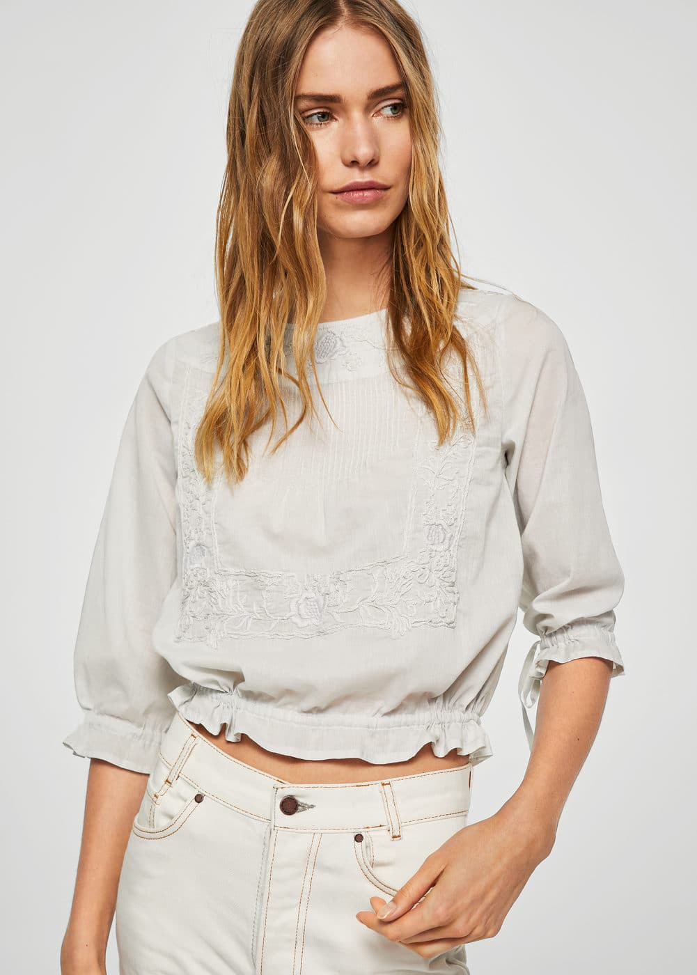 Embroidered cord blouse | MANGO