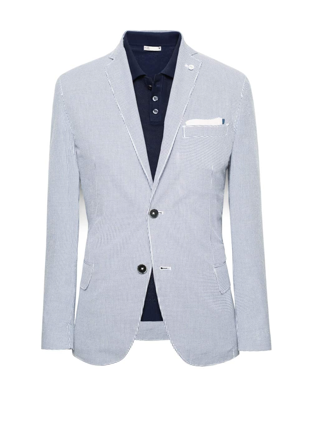 Elbow-patch micro check blazer | MANGO MAN