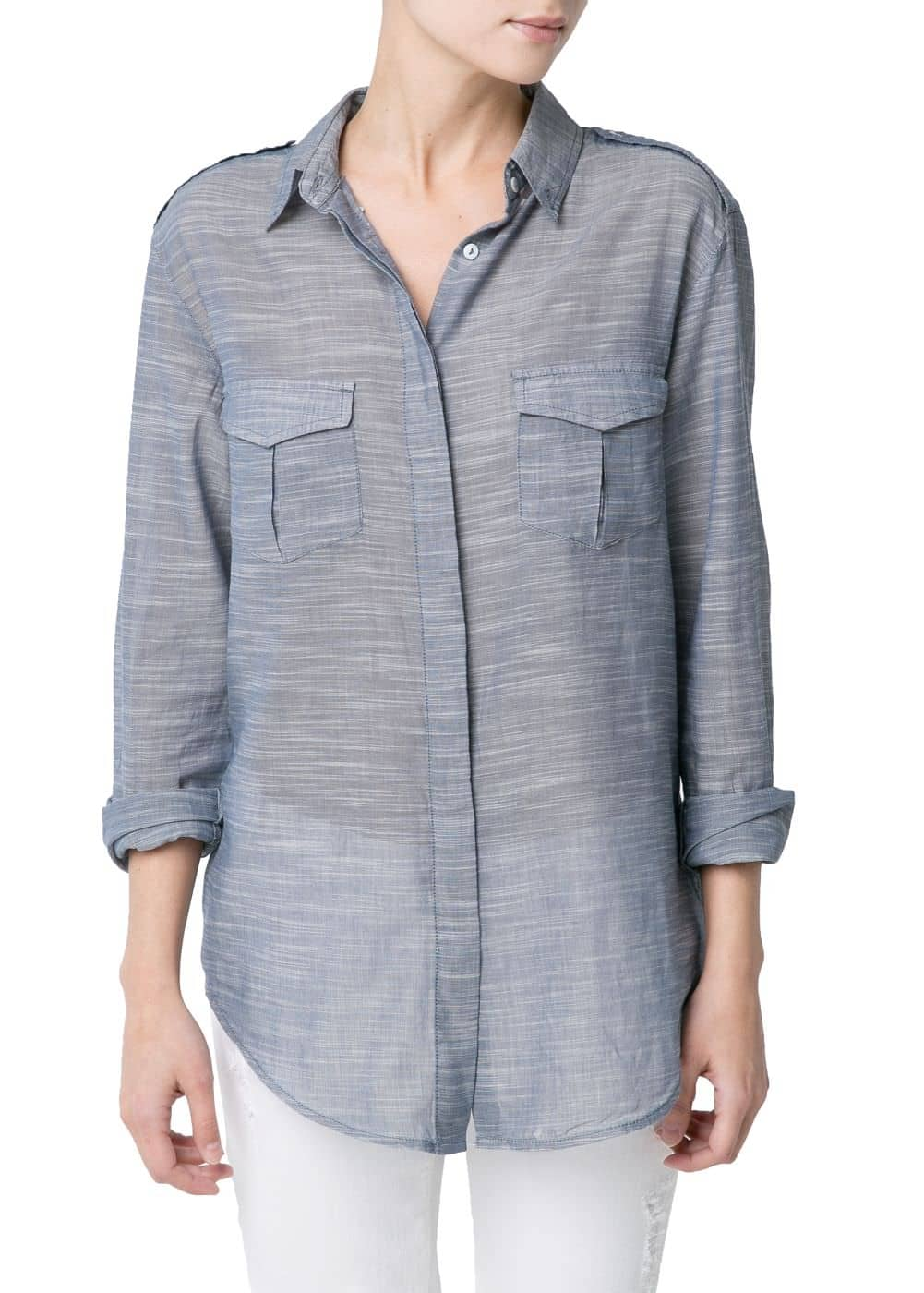 Lightweight chambray shirt | MANGO