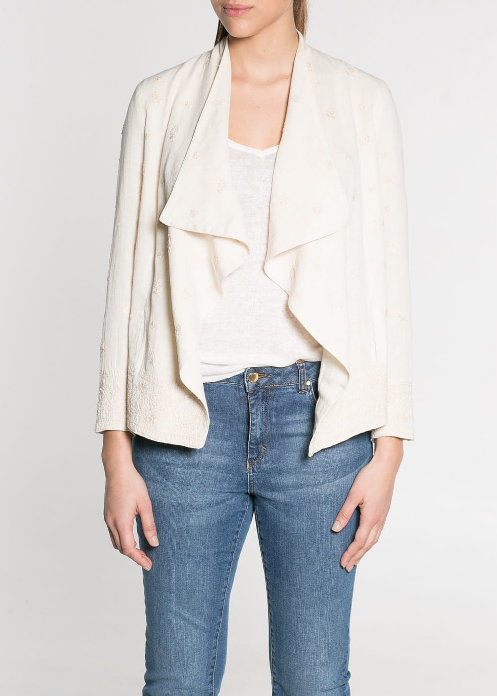 Embroidered hem linen-blend jacket | MANGO
