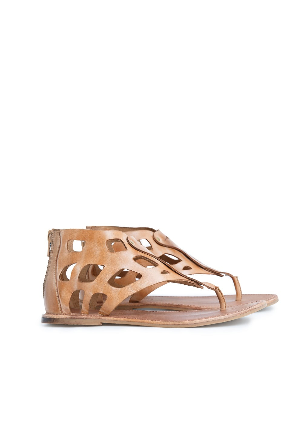 Laser-cut leather sandals | MANGO KIDS