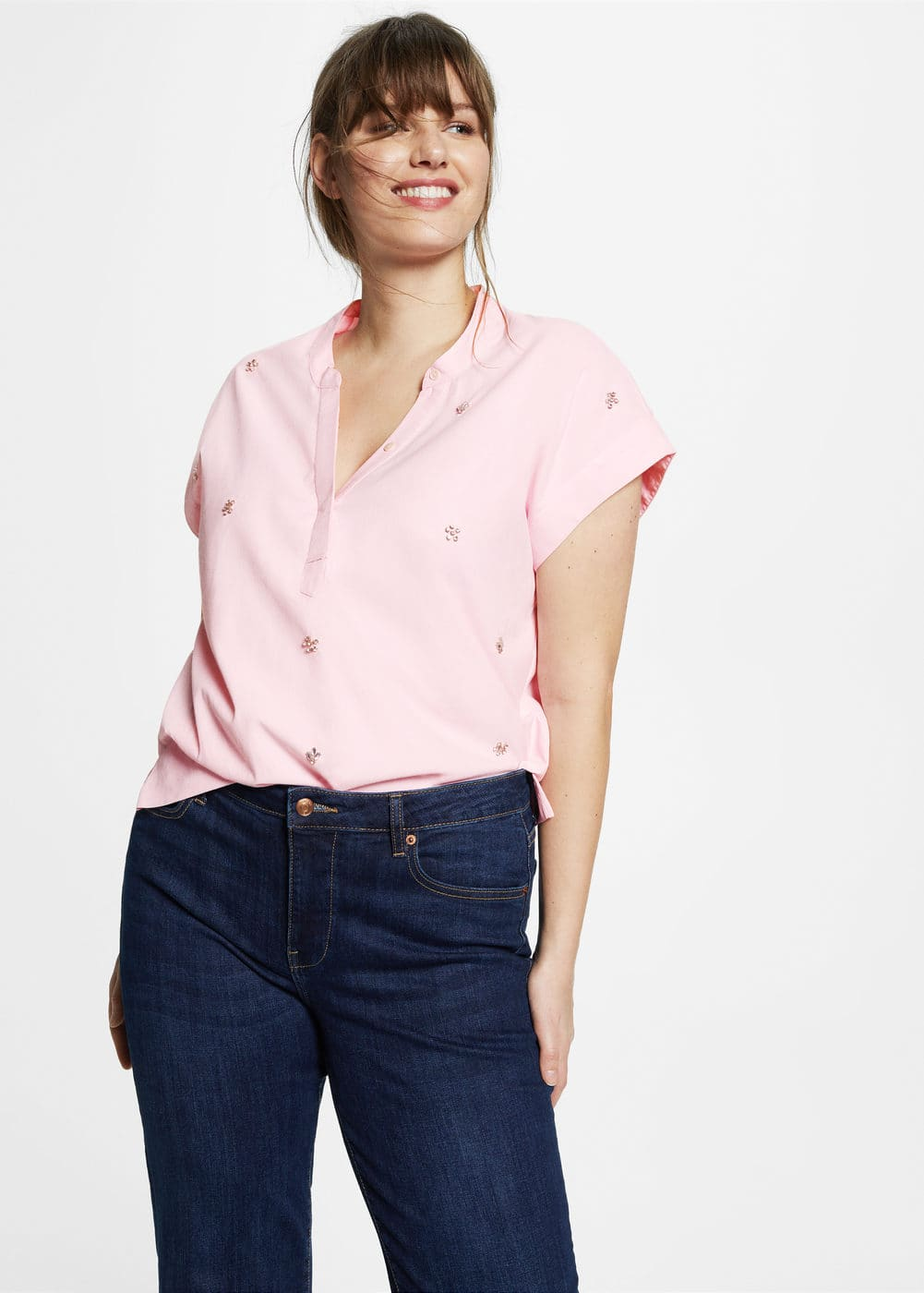 Glossed-effect appliqué blouse | VIOLETA BY MNG