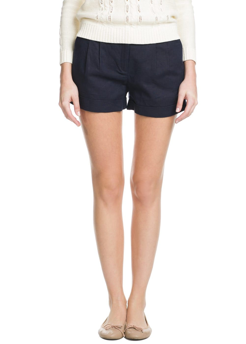 Cotton linen-blend shorts | MANGO