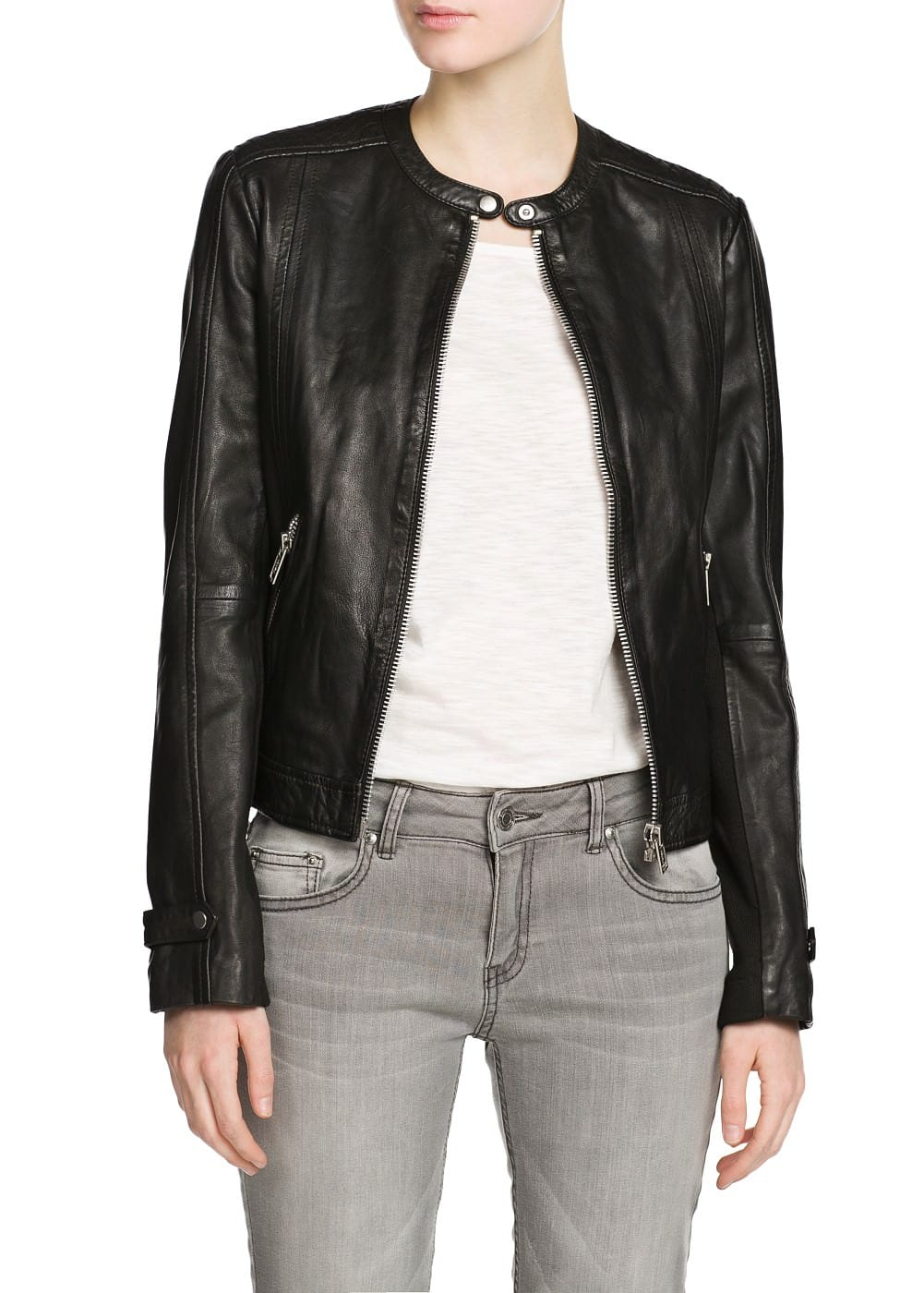 Stitch leather jacket | MANGO