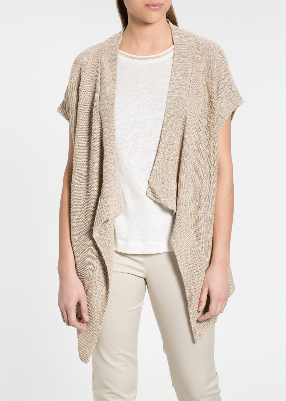 Waterfall linen-blend cardigan | MANGO