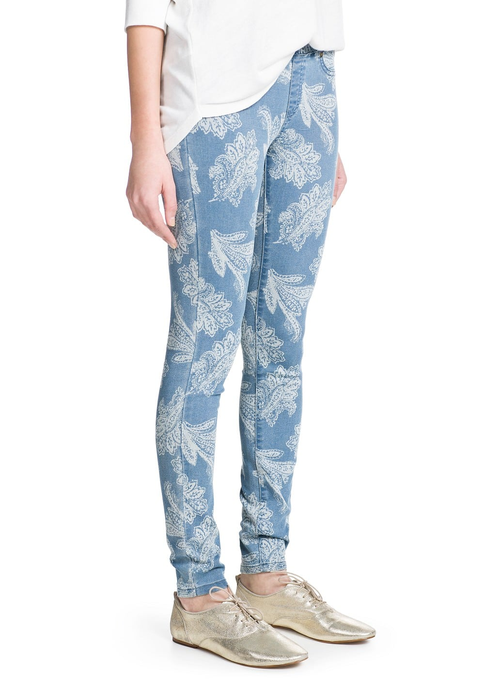 Printed medium wash jeggings | MANGO