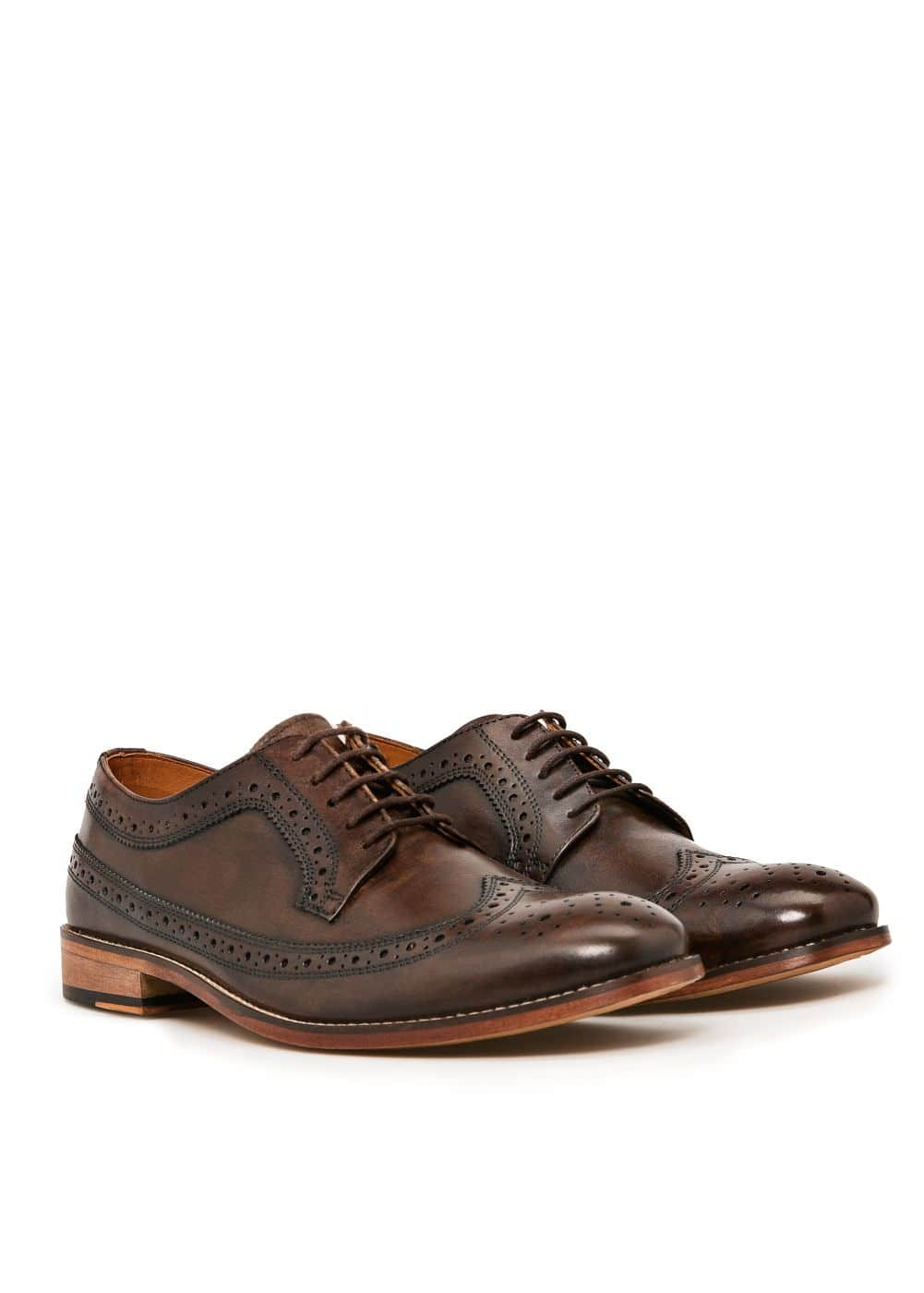 Brogueing leather blucher | MANGO MAN