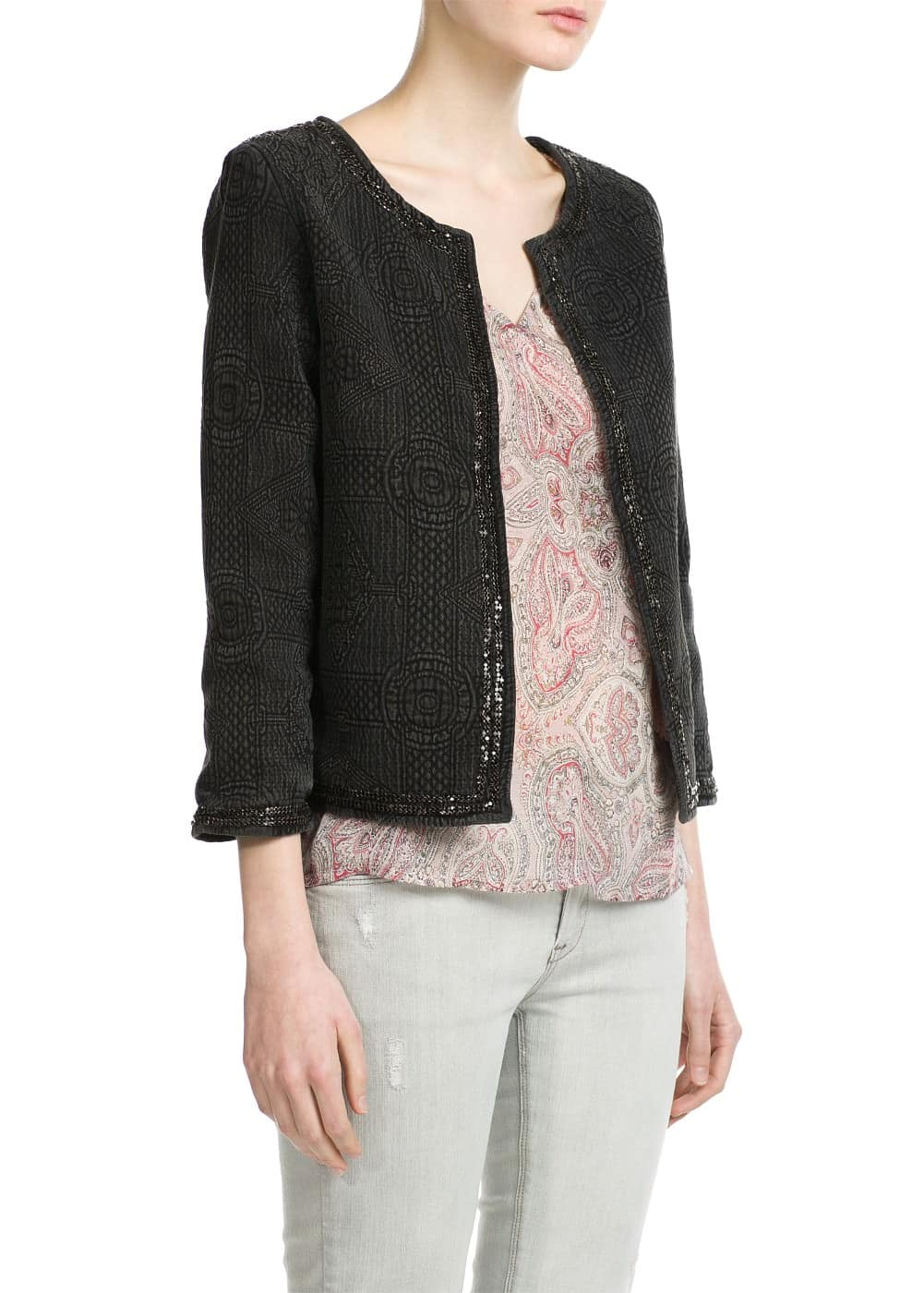 Trim textured jacket | MANGO
