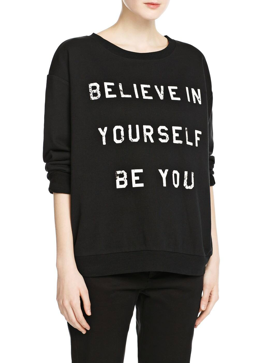 Printed message cotton sweatshirt | MANGO