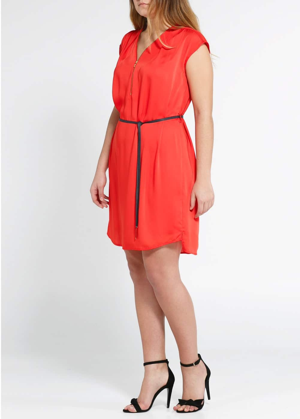 Zip satin dress | MANGO