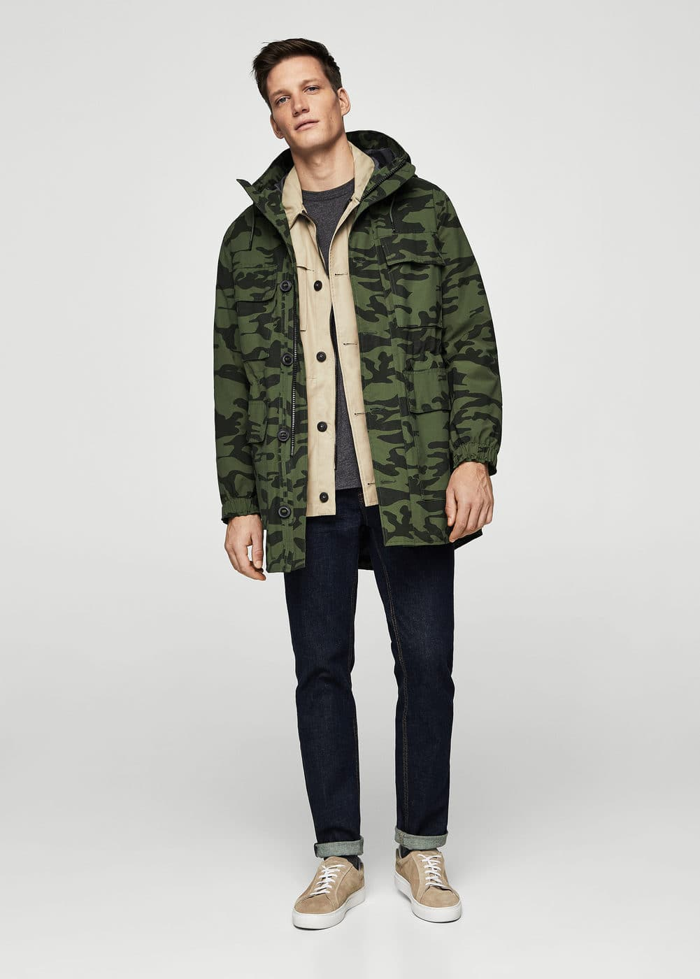 Parka camouflage cotton  | MANGO MAN
