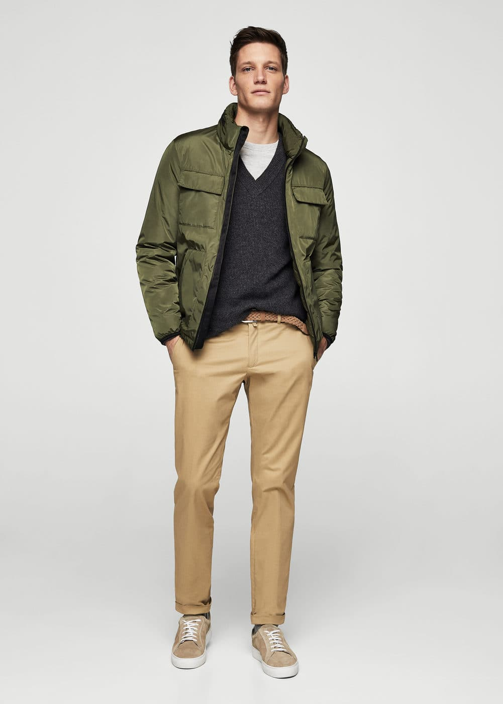 Nylon-blend quilted jacket | MANGO MAN