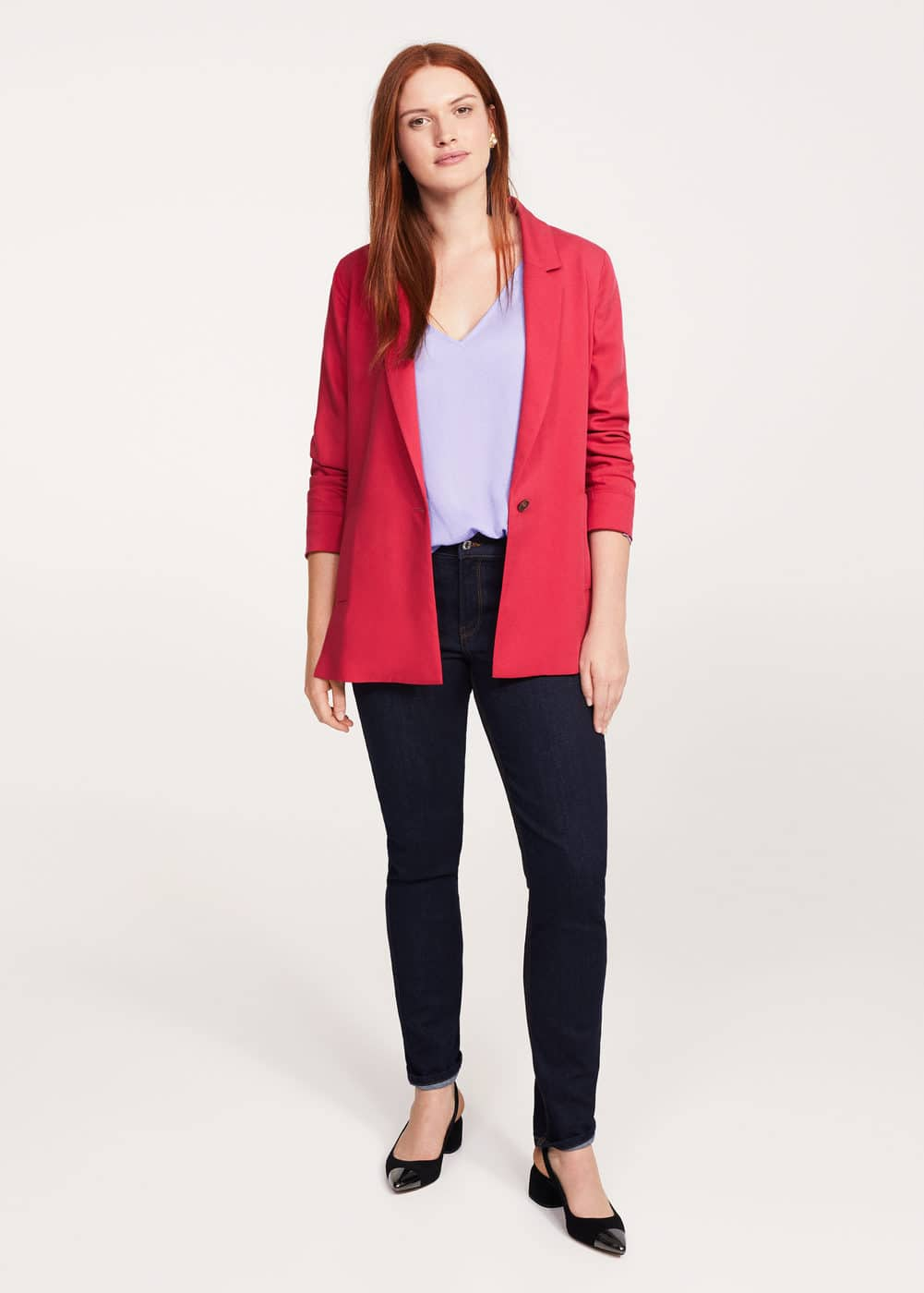 Ruched satin blouse | VIOLETA BY MANGO