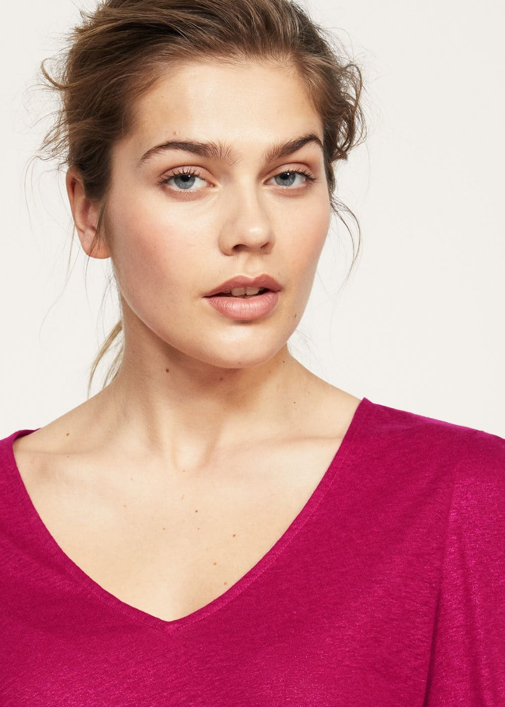 Gathered sleeve t-shirt | VIOLETA BY MANGO
