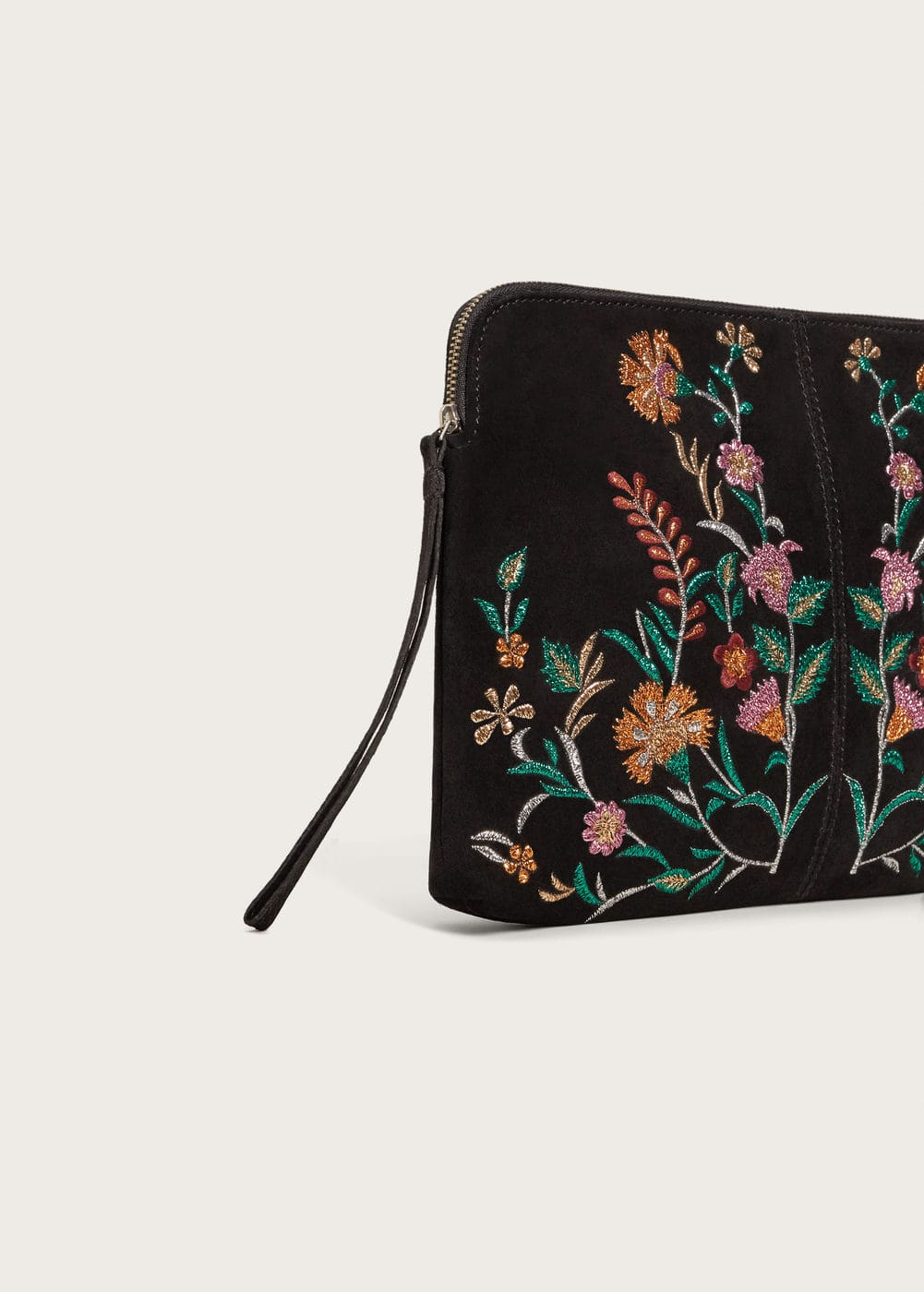 Embroidered leather clutch   VIOLETA BY MANGO