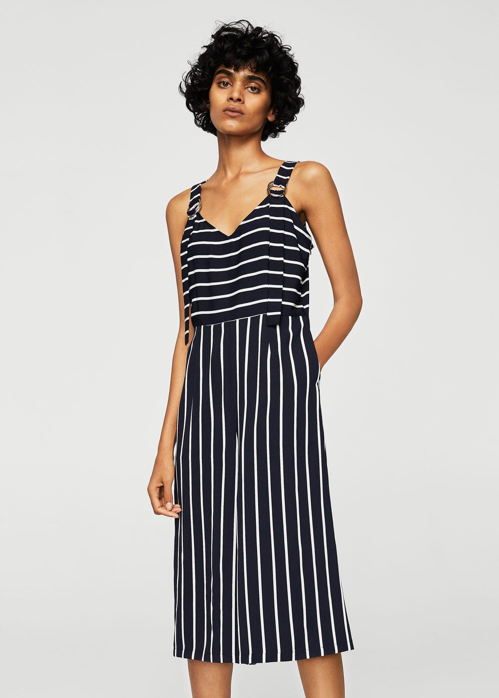 Cropped striped jumpsuit | MANGO