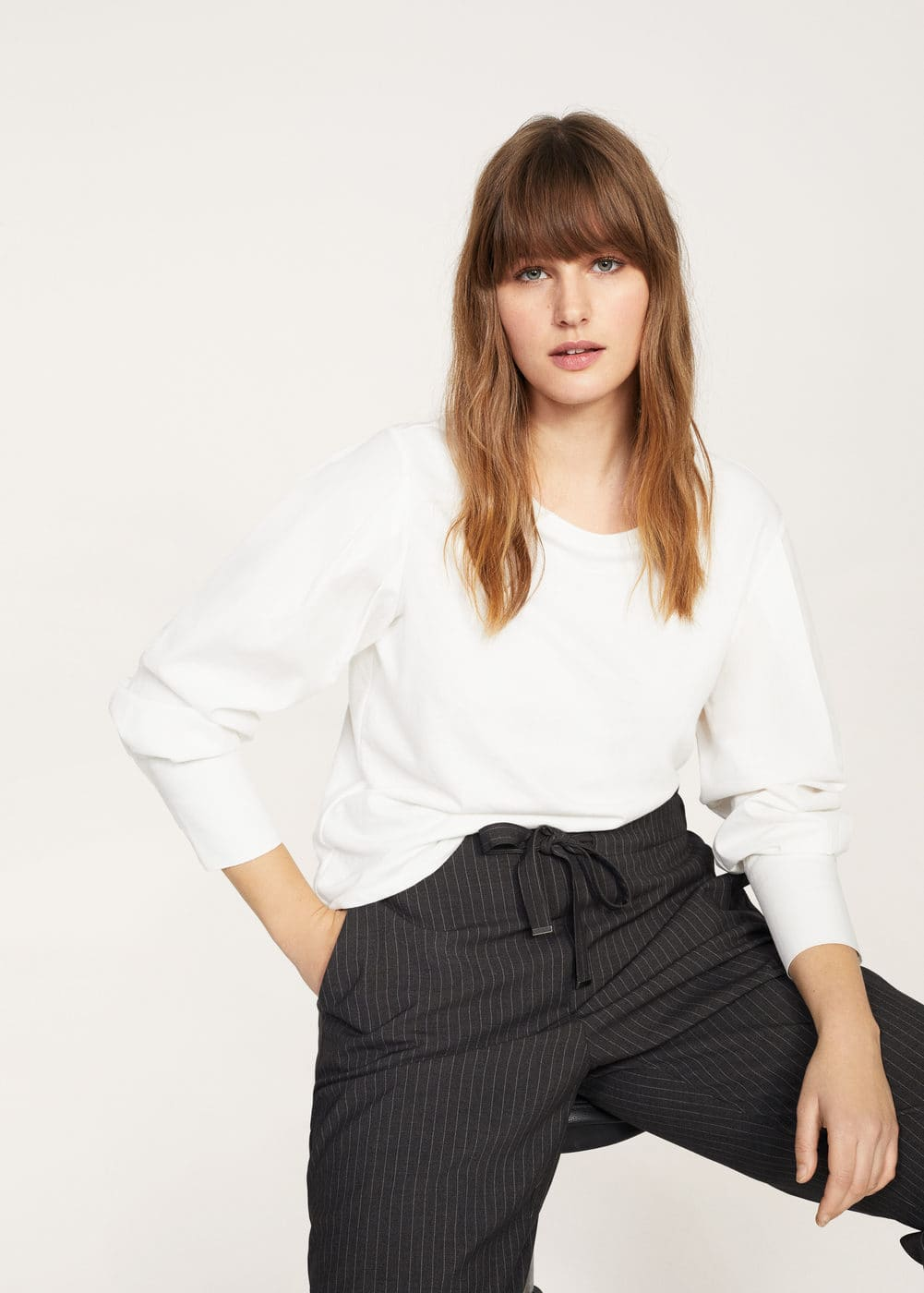 Striped flowy trousers | VIOLETA BY MANGO