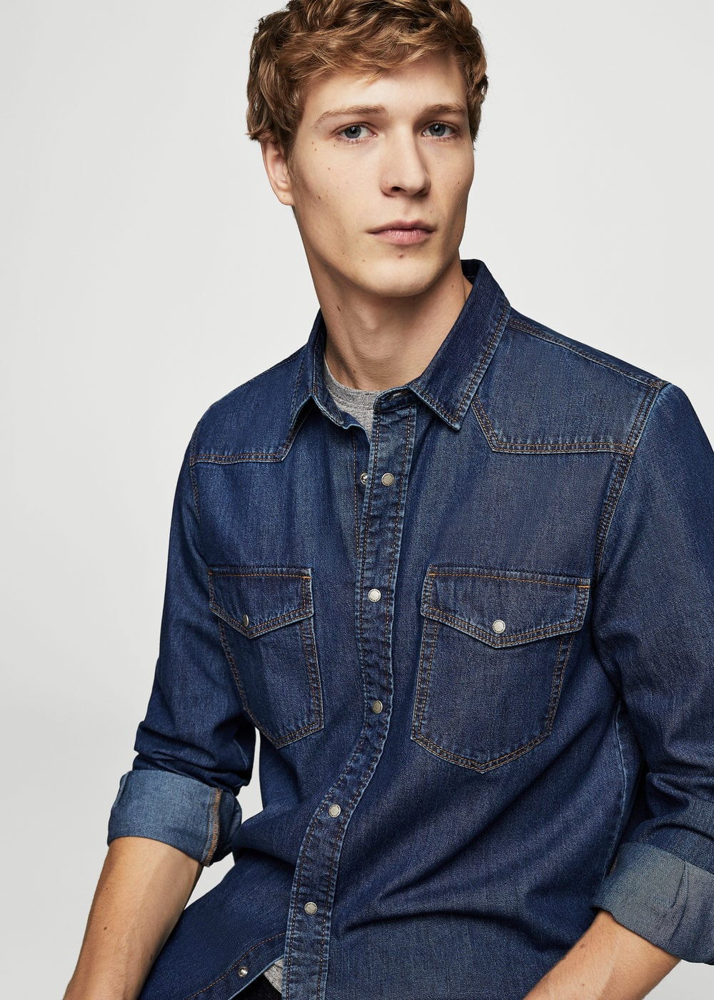 Dark wash regular-fit denim shirt | MANGO MAN