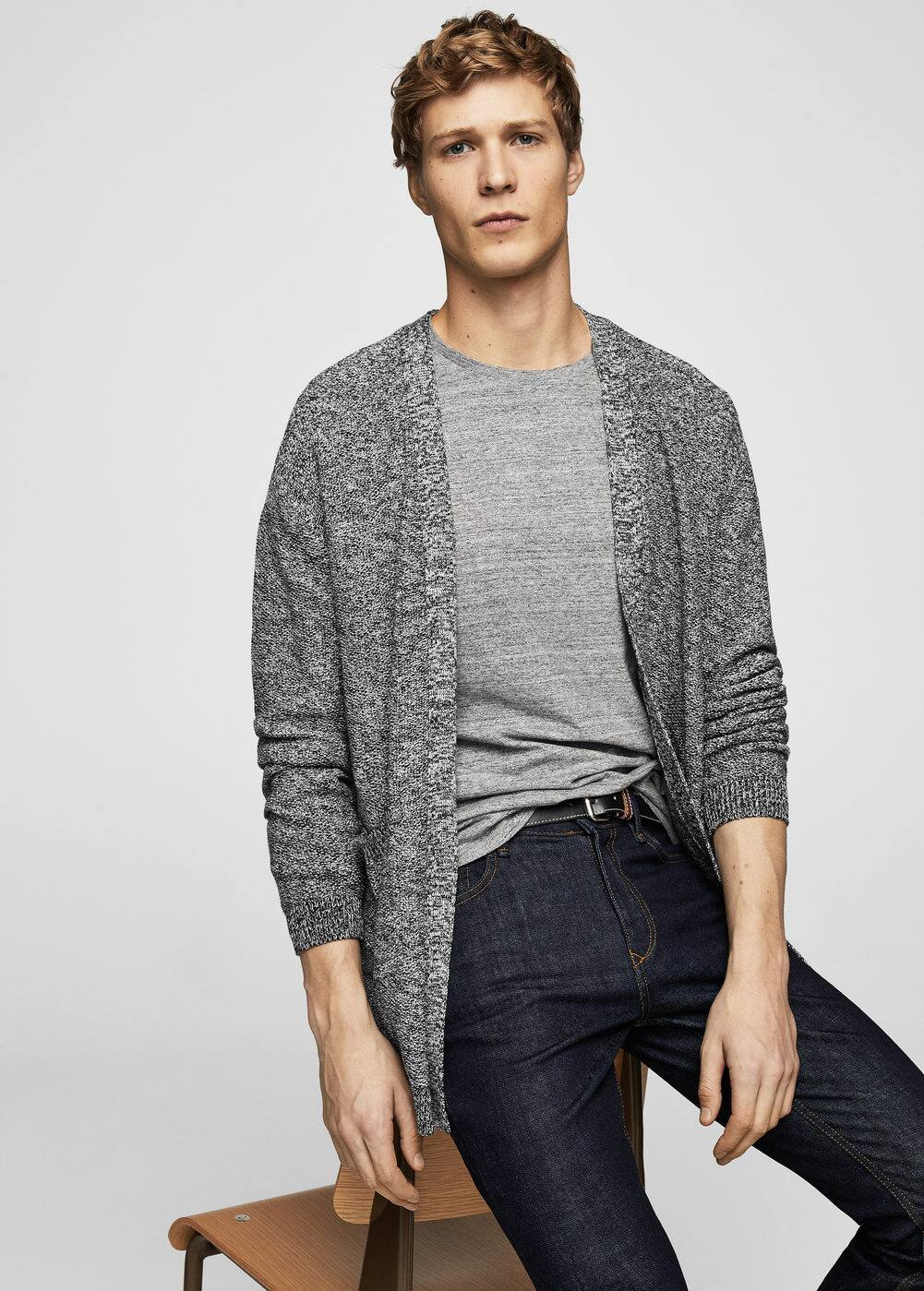 Flecked cotton-blend cardigan | MANGO MAN