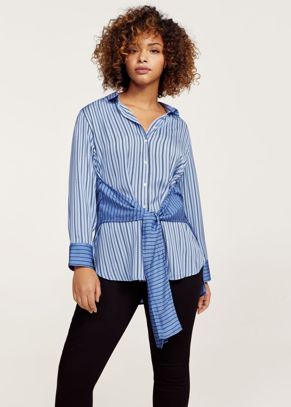 Striped bow blouse | VIOLETA BY MANGO