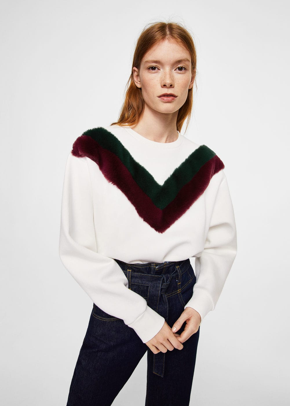 Velvet panel sweatshirt | MANGO