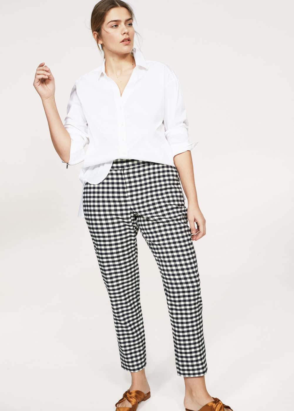 Gingham check pattern trousers | VIOLETA BY MANGO