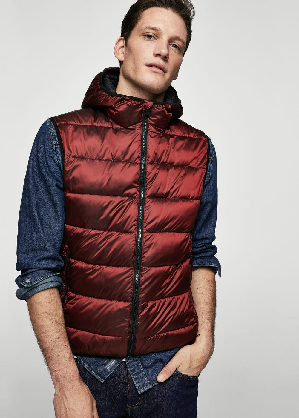 Hooded quilted nylon vest | MANGO MAN