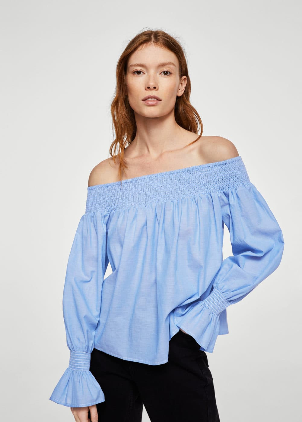 Blusa di cotone off-shoulder | MANGO