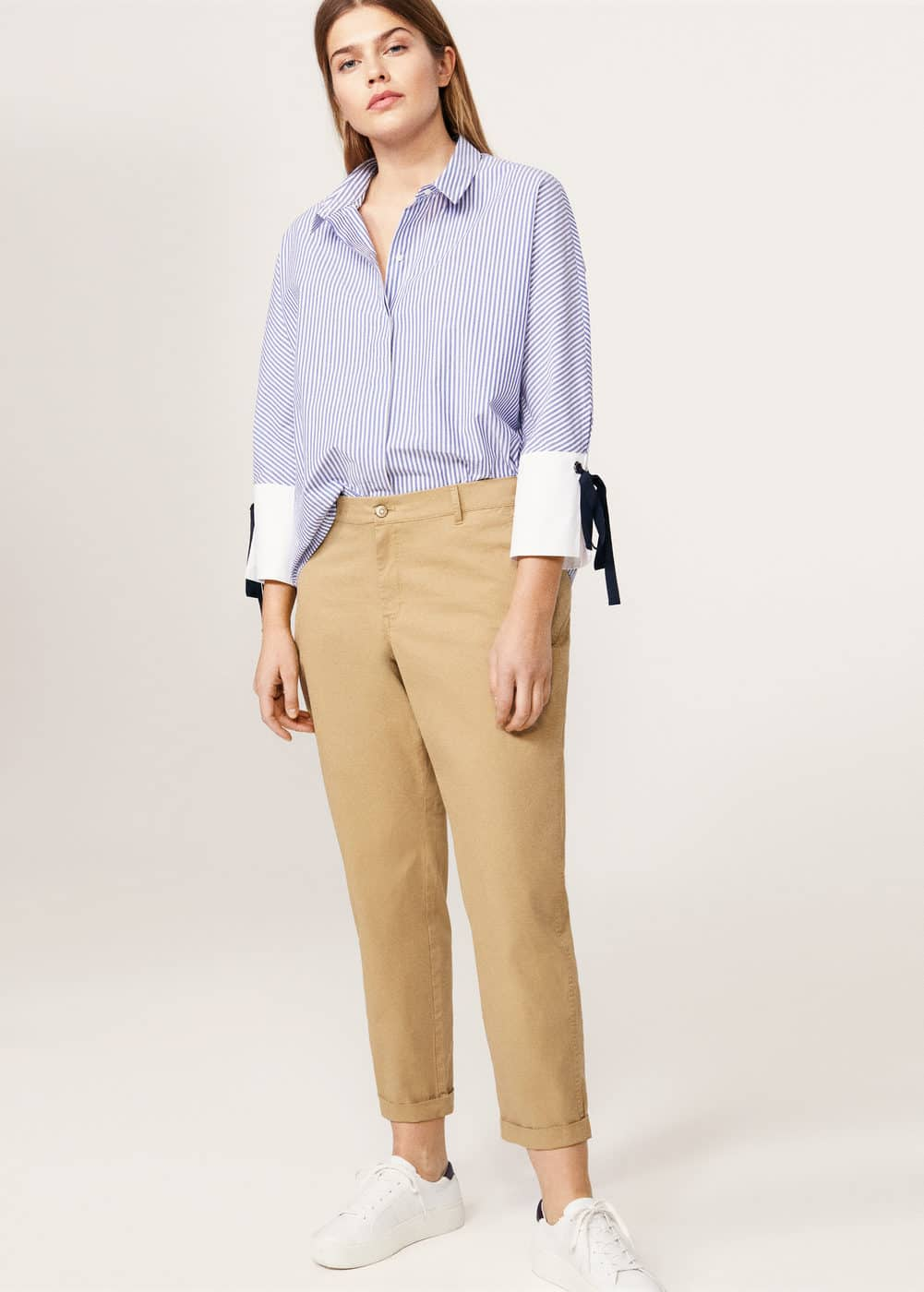 Bow fine-stripe shirt | VIOLETA BY MANGO