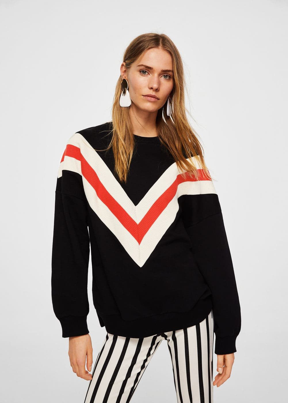 Striped oversize sweatshirt | MANGO