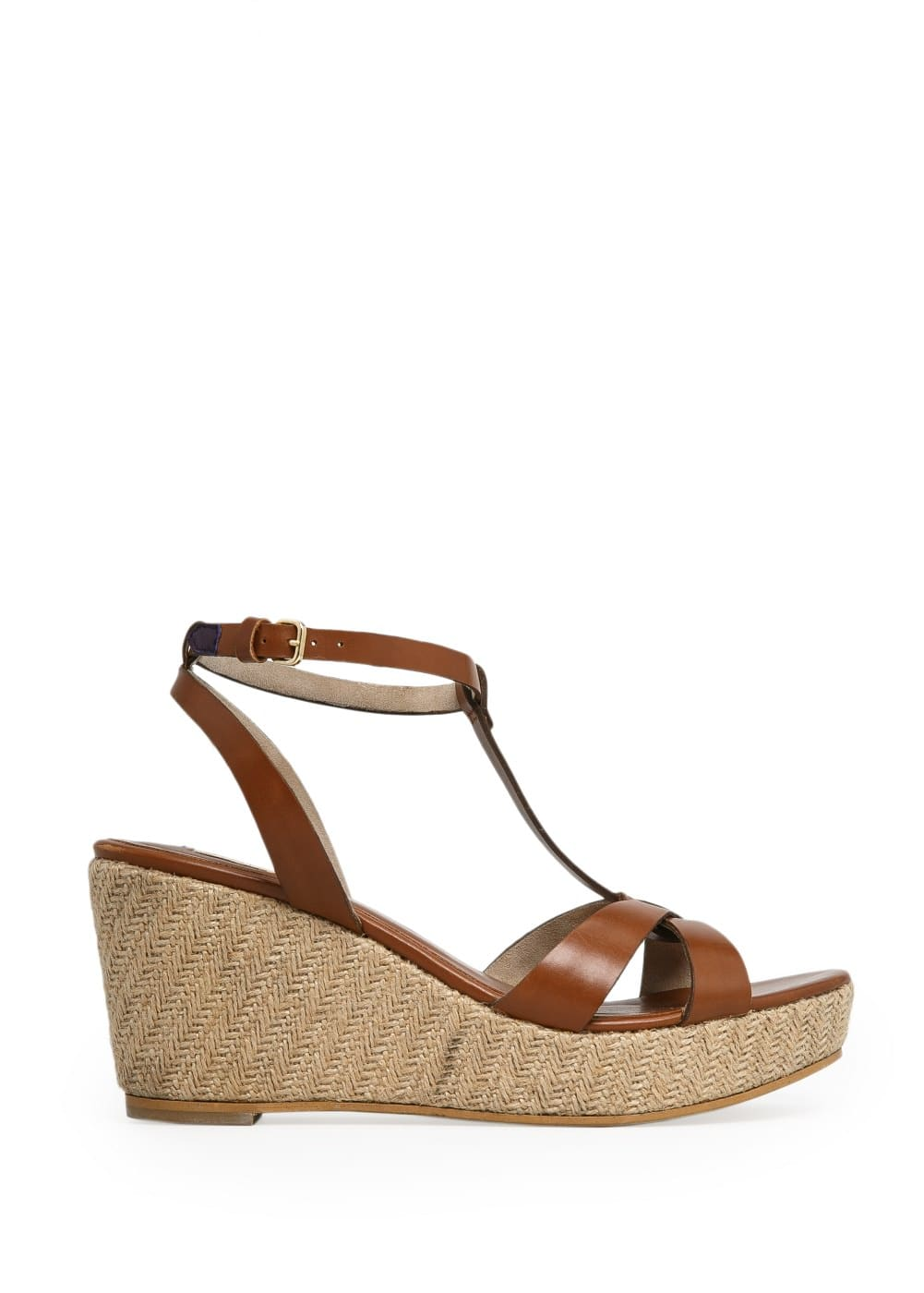 Leather wedge sandals | MANGO