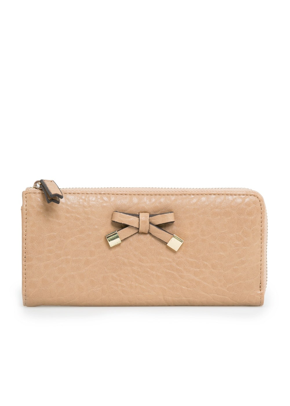 Bow pebbled wallet | MANGO
