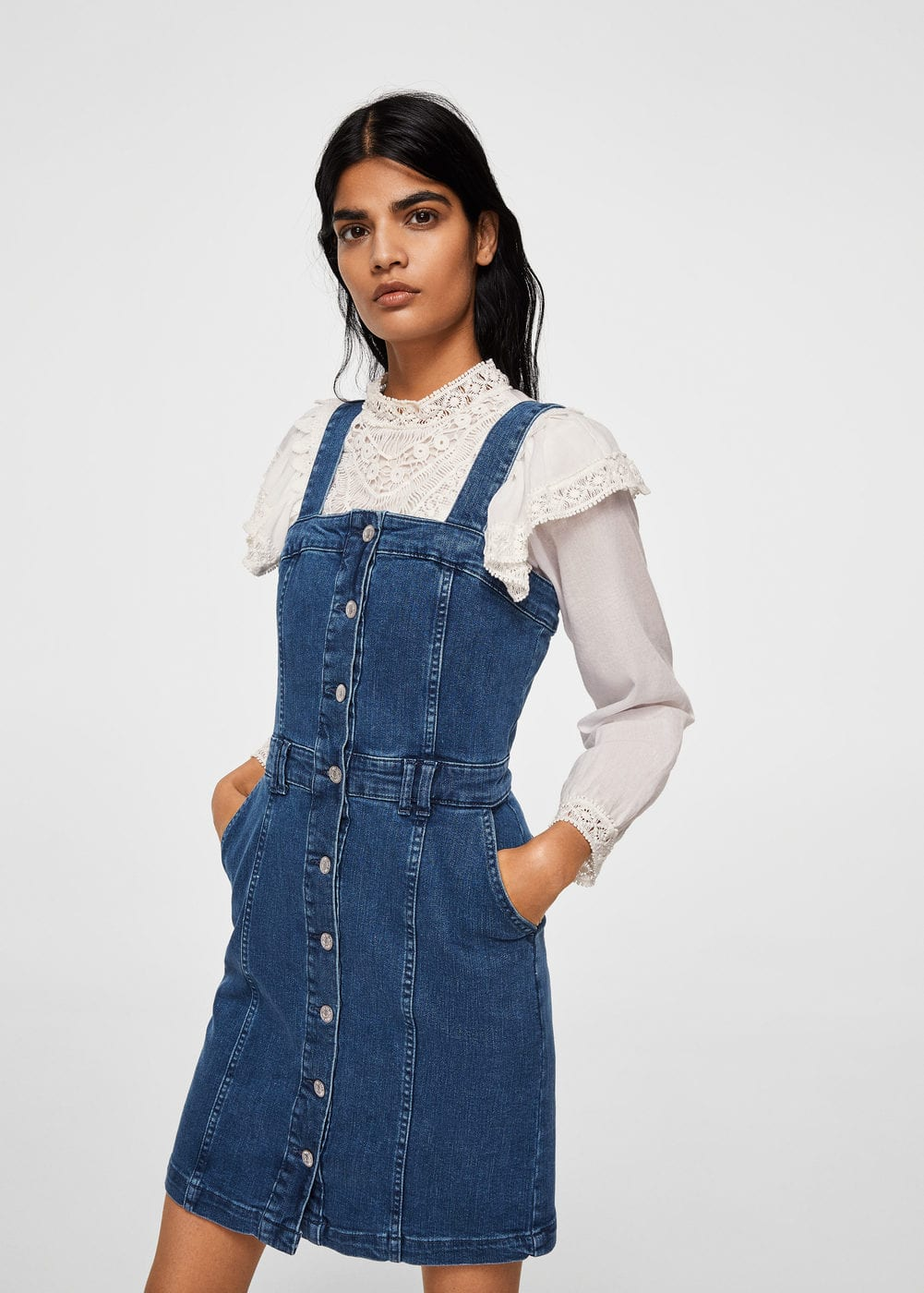 Pocket denim pinafore dress | MANGO