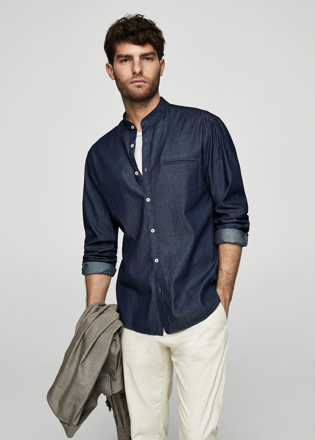 Mao collar denim shirt | MANGO MAN