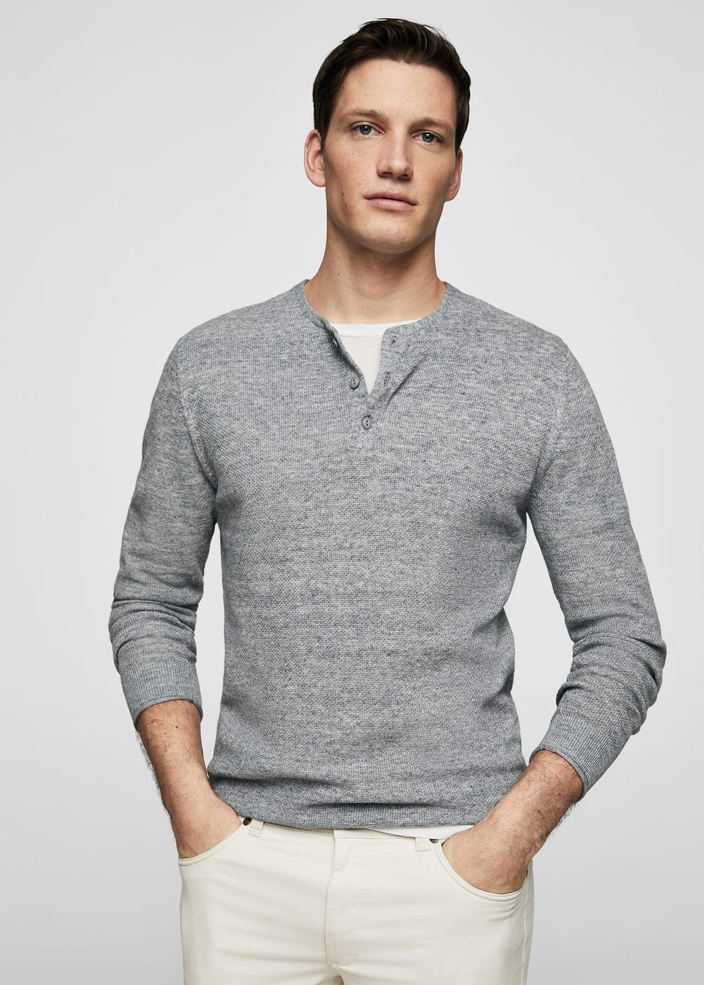 Flecked henley sweater | MANGO MAN