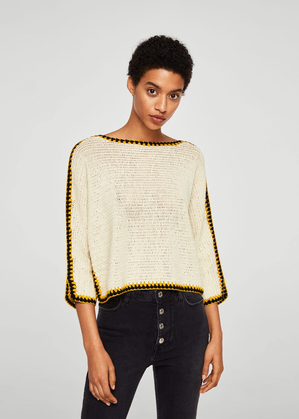 Contrast trim sweater | MANGO