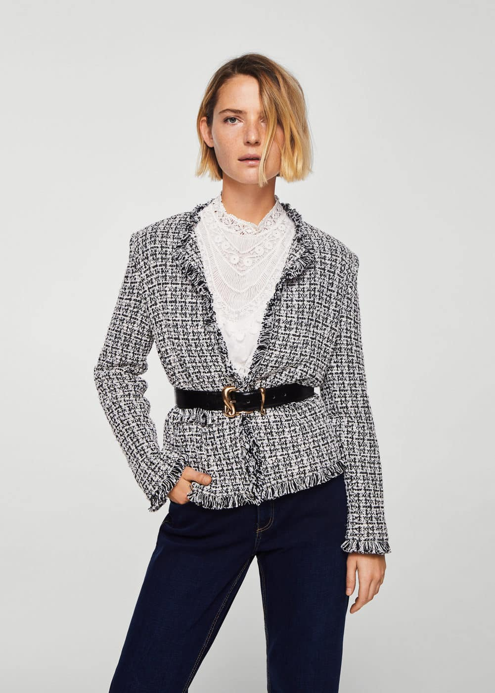 Trim tweed jacket | MANGO