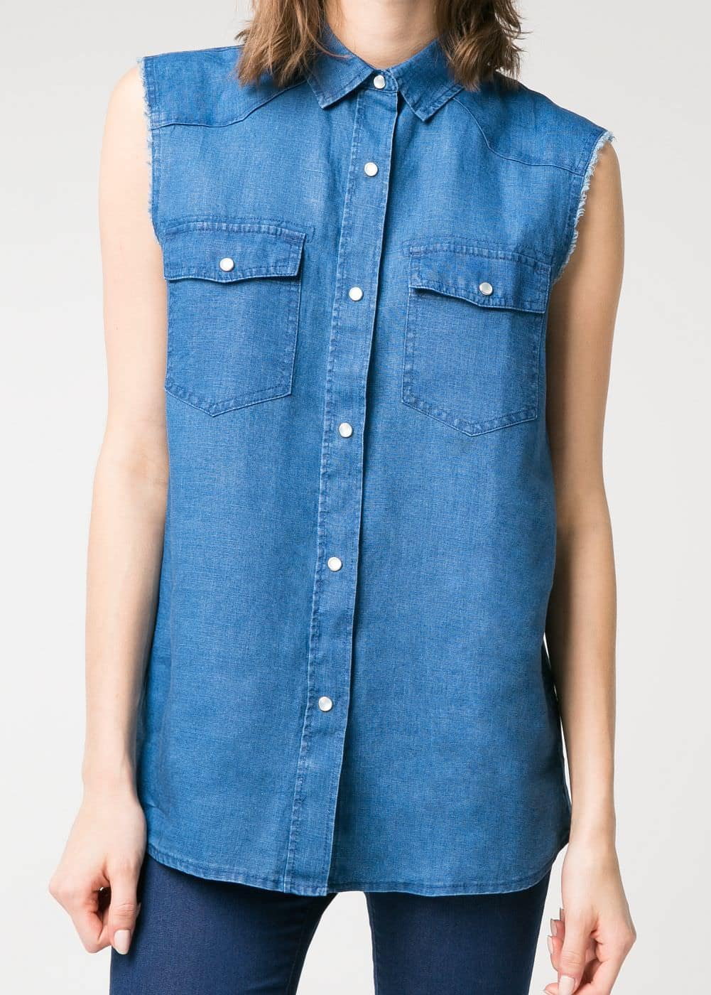 Linen chambray shirt | MANGO